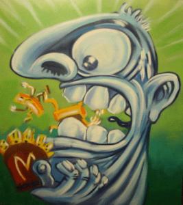 """del 3 al 31 de març del 2005 Un dels nostres preferits i estimats dibuixants de còmics, graffitero i sobretot artista. Les seves tires còmiques al Fak ens han fet riure i a la vegada cavil·lar. Ara ens sorprèn amb la nova obra pictòrica """"els seus terrors predilectes"""", imatges oníriques amb molta força expressiva que ens endinsen en el món càustic, divertit i reflexiu de l'Hono."""