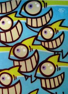 PEZ somrient des de 1999 del 8 al 30 de juny del 2007  Inauguració: divendres 8 de juny de 19 a 22'30h Nascut a Barcelona, criat al barri de Sant Adrià del Besòs. Inicia la seva aventura com a graffiter al 1999. Pez és conegut per la seva icona, un peix expressiu de gran somriure. Després del peix, Pez ha anat desenvolupant nous personatges sempre caracteritzats pel seu gran somriure, fent gaudir les seves creacions de situacions còmiques, sempre amb alegria i color.