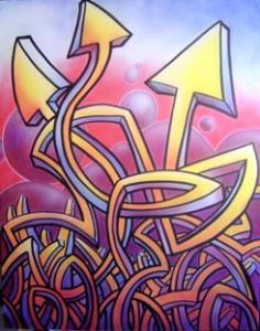 Exposició: Art Nokturn (Patrick Grau) del 5 al 28 d'octubre de 2005 Pinzellades d'art nokturn; línies que improvitzen el seu traç, cares sinuoses, confusió de direccions,.... tots aquests trets els podem veure en el treball d'en Patrick Grau, un artista de la ciutat que experimenta i cerca noves vies d'expressió.   Art nokturn és el nom amb que firma Patrick Grau, un artista polifacètic dedicat a tot el que pot arribar a donar l'abast la música i la pintura. El nom fa referència a la feina que ha estat fent fins ara, discjockey, una feina nocturna que l'ha intercalat amb les arts plàstiques realitzant decoracions per discoteques, performances, escenografies,... Tot i així, aquest nom que engloba la seva obra l'ha escollit per la seva sonoritat en pronunciar-lo, i no pas pel seu significat