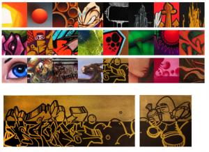 Collective d'escriptors Round One (Asalto) format per Sacke, Heck, Land, Maker, Zudi i Ronwe  del 13 d'abril al 5 de maig del 2007  Inauguració: divendres 13 d'abril de 19 a 22'30h Aquests artistes traslladen el seu art urbà a suports de tels per apropar-nos tot el seu art en petit format...